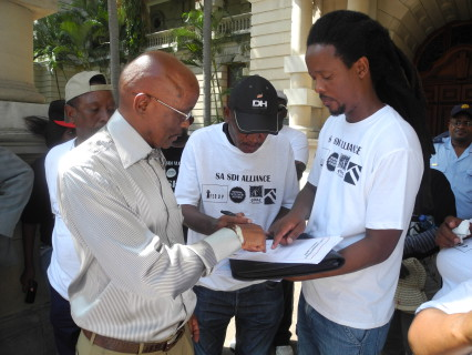 Joe Nene (Advisor to the Mayor), Patrick Magebhula and Mzwanele Zulu (ISN national coordinators)