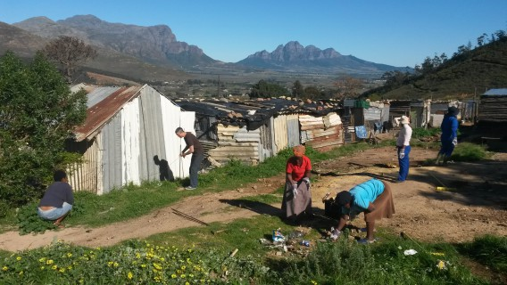 Site of Siphumelele WaSH facility in Zwelitsha section of Langrug informal settlement