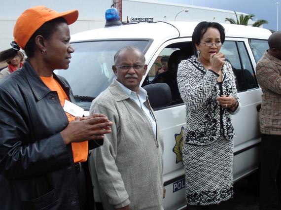 Minister Lindiwe Sisulu, with Jockin Arputham (President of SDI) and Rose Molokoane, National Co-ordinator of FEDUP, 2006
