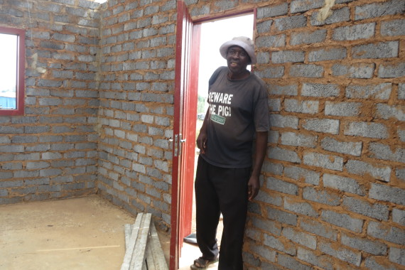 Elias in his soon-to-be-completed house.