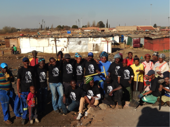 ISN facilitators in Holomisa settlement, Gauteng (2014). Sipho Vanga (third from left)