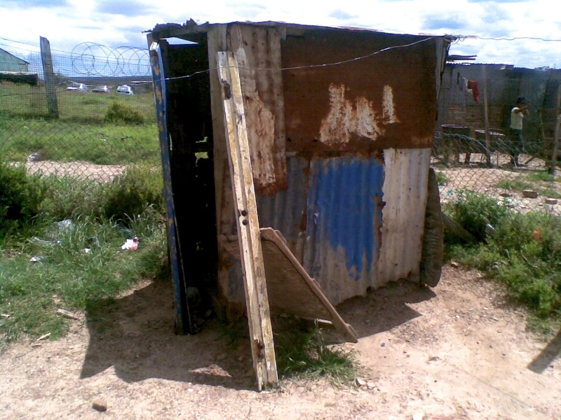 Pit latrine toilet used by some residents from Midrand informal settlement
