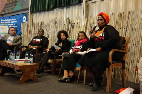 Nozuko Fulani speaking together with FEDUP Chairperson, Minister Lindiwe Sisulu and ISN's Melanie Johnson in a panel discussion on data collection from vulnerable population.